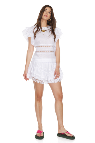 White Linen Top With Cotton Embroidered Insertions - PNK Casual