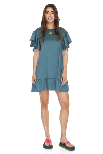 Green Oversized Mini Dress With Ruffles - PNK Casual
