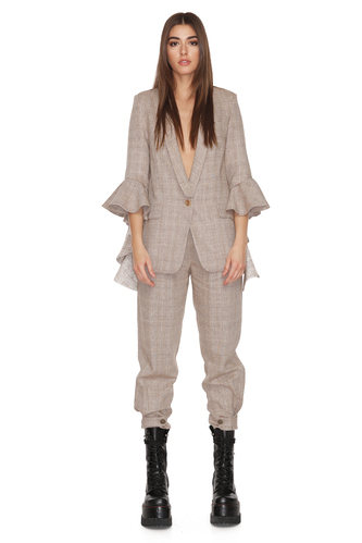 Brown Checkered Blazer With Ruffles Sleeves - PNK Casual