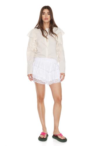 Ruffled Shoulders Cotton Shirt - PNK Casual