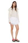 Ruffled Shoulders Cotton Shirt