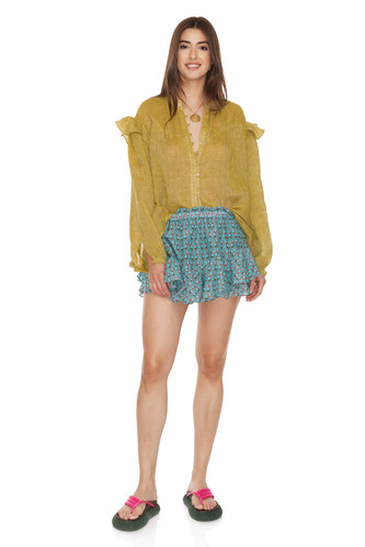Yellow Oversized Linen Blouse - PNK Casual
