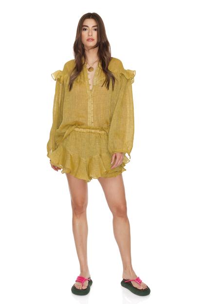 Linen Yellow Shorts