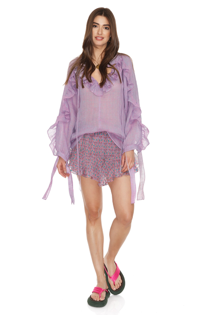 Purple Linen Ruffled Top