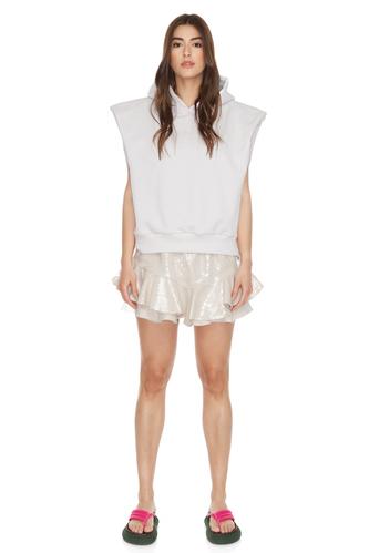 Beige Sequin-Linen Shorts - PNK Casual