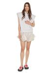 Beige Sequin-Linen Shorts