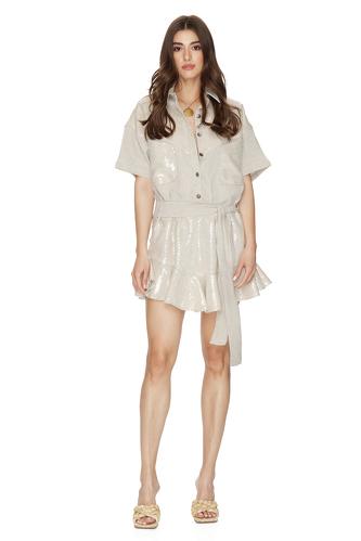 Beige Sequin-Linen Mini Dress - PNK Casual