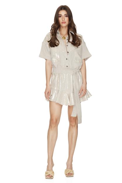 Beige Sequin-Linen Mini Dress