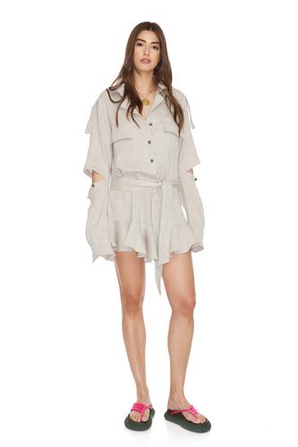 Grey Linen Cutout Mini Dress - PNK Casual