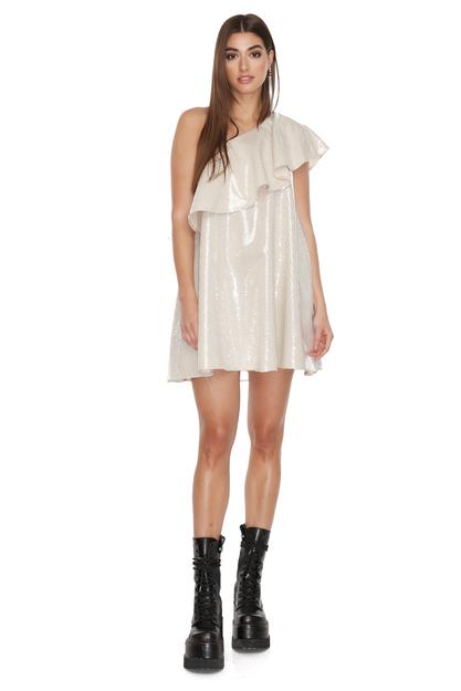 One Shoulder Grey Sequin Mini Dress