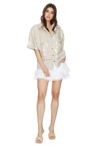 Beige Sequin-Linen Shirt - PNK Casual