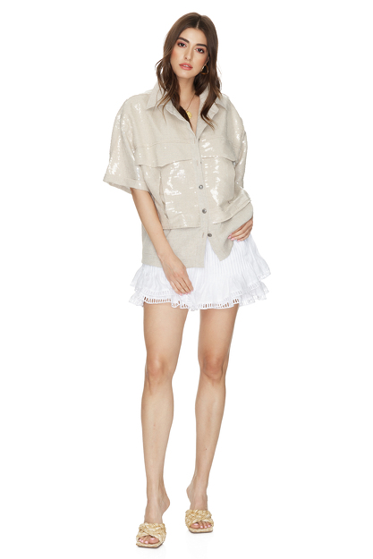 Beige Sequin-Linen Shirt