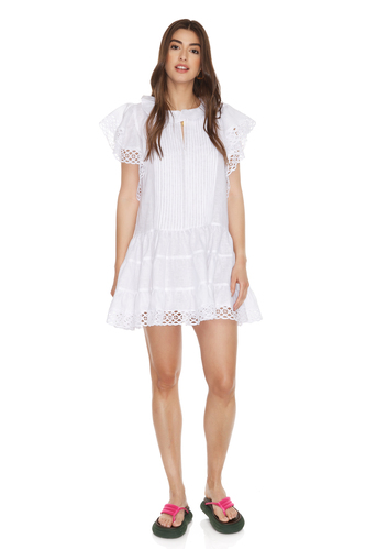 White Linen Dress With Cotton Embroidered Insertions - PNK Casual