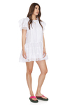 White Linen Dress With Cotton Embroidered Insertions