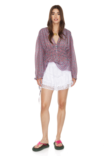Relaxed Fit Mauve Silk Blouse - PNK Casual