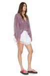 Relaxed Fit Mauve Silk Blouse