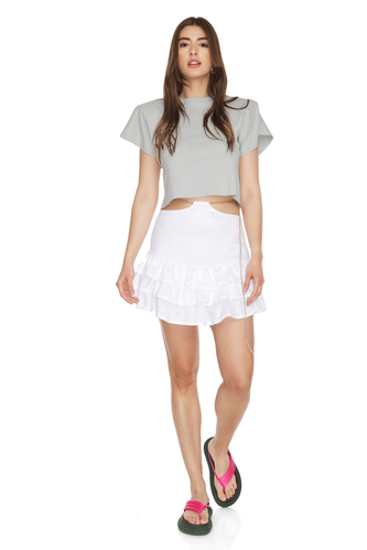 White Ruffled Linen Mini Skirt With Chain Detail at the Waist - PNK Casual