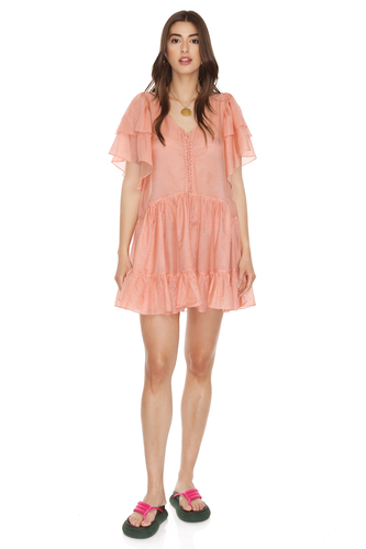 Relaxed Fit Orange Mini Dress - PNK Casual