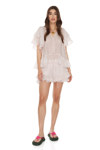 Light Rose Silk-Cotton Shorts - PNK Casual