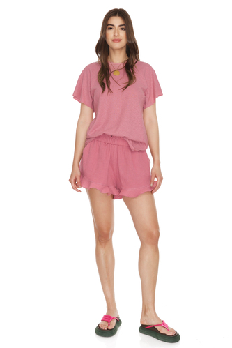 Boho Dusty Pink Shorts With Elasticated Waistband - PNK Casual
