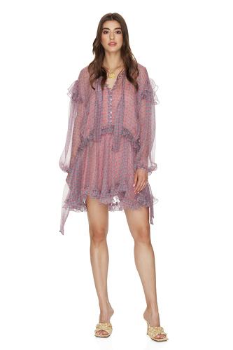Printed Mauve Silk Ruffled Dress - PNK Casual