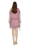 Printed Mauve Silk Ruffled Dress