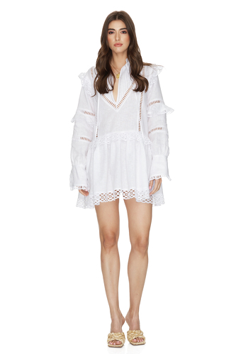 White Linen Dress With Cotton Lace Insertions - PNK Casual