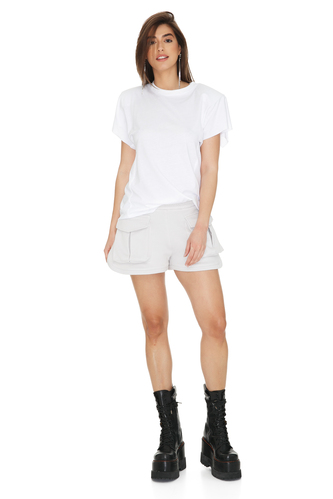 Light Grey Cotton Shorts With Front Detail Pocket - PNK Casual