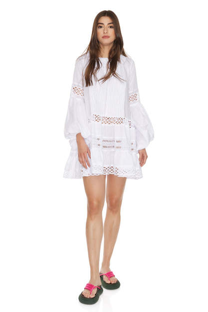 White Linen Mini Dress With Cotton Lace Insertions