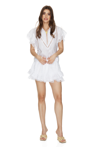 White Linen Shorts With Cotton Lace Insertions - PNK Casual