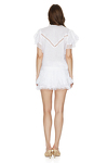 White Linen Shorts With Cotton Lace Insertions