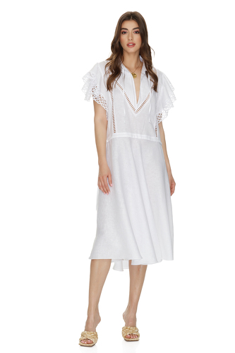 White Linen Midi Dress With Cotton Lace Insertions - PNK Casual