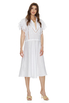 White Linen Midi Dress With Cotton Lace Insertions