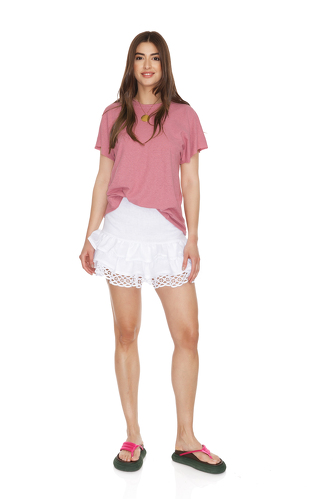 White Linen Skirt With Cotton Embroidered Hem - PNK Casual