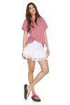 White Linen Skirt With Cotton Embroidered Hem