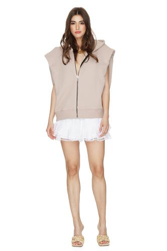 Oversized Beige Cotton Vest With Zipper - PNK Casual