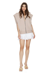 Oversized Beige Cotton Vest With Zipper