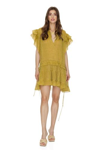 Yellow Linen Ruffled Mini Dress - PNK Casual
