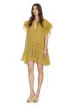 Yellow Linen Ruffled Mini Dress