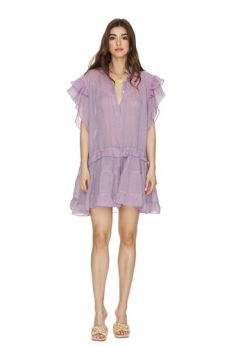 Purple Linen Ruffled Mini Dress - PNK Casual