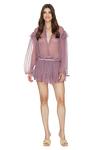 Printed Mauve Silk Ruffled Shorts