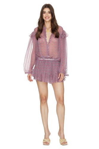 Printed Mauve Silk Ruffled Shorts - PNK Casual