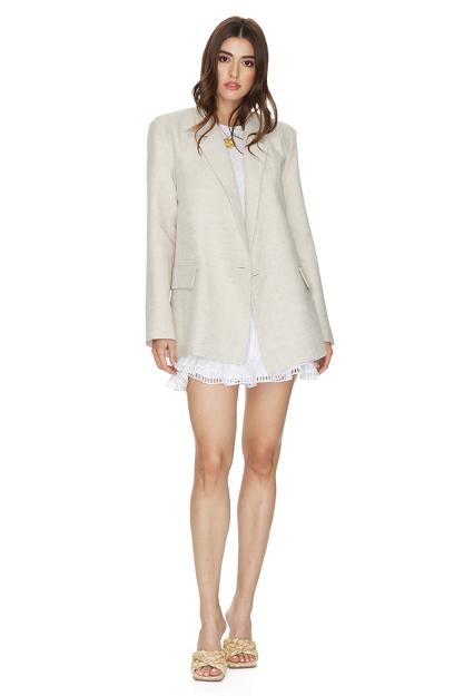 Beige Oversized Linen Blazer
