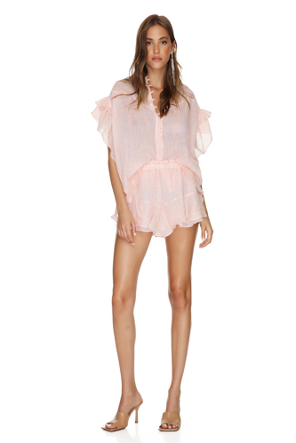 Coral Oversized Linen Top - PNK Casual