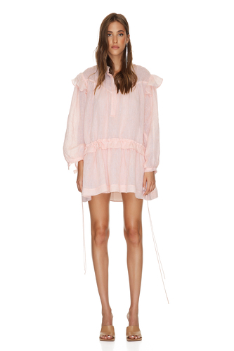 Coral Linen Mini Dress With Long Sleeves - PNK Casual