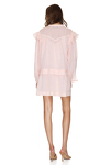 Coral Linen Mini Dress With Long Sleeves