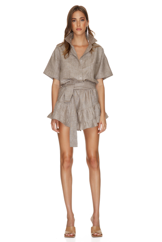 Brown Linen Mini Dress With Elasticated Waistband - PNK Casual