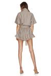 Brown Linen Mini Dress With Elasticated Waistband
