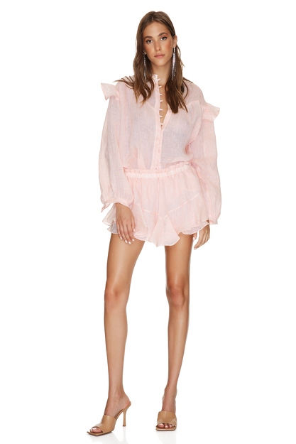 Coral Oversized Linen Blouse