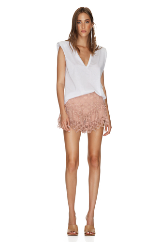 Dusty Pink Crocheted Lace Shorts - PNK Casual
